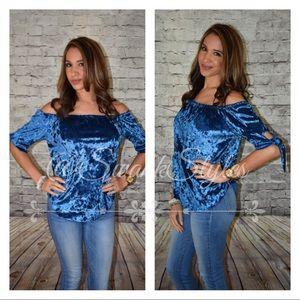 Tops - Blue Off Shoulder Velvet Top