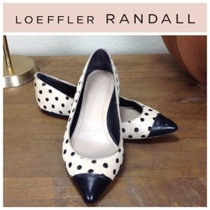 Loeffler Randall Black & Cream Leather Dot Flats