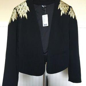 New! Gold leaf embroidered black cropped jacket