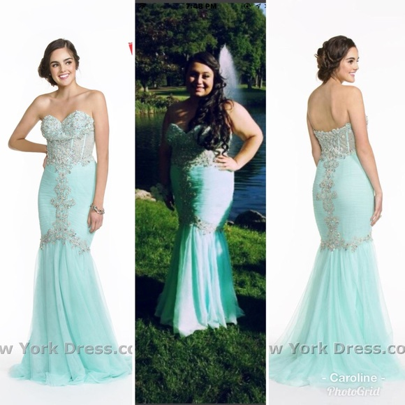 Plus size teal/mint mermaid prom dress