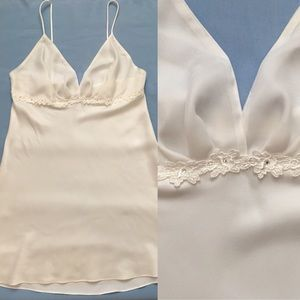 Dentelle M White Satin Rhinestone Lace Nightgown