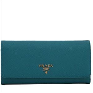 Prada Saffiano Leather Long Fold Wallet