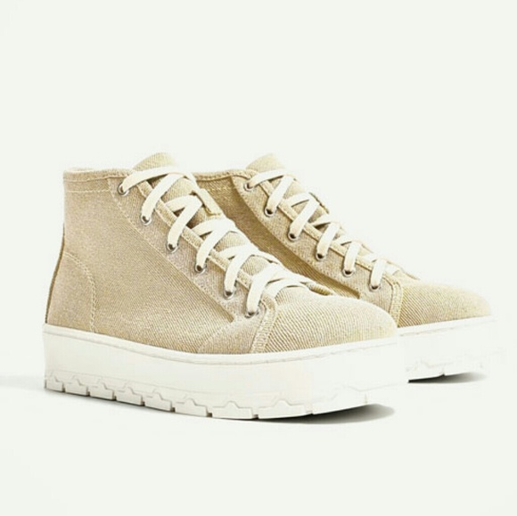 best loved 03833 e0141 ZARA Fabric Platform High Top New Beige Sneakers Boutique