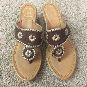 Jack Rogers brown leather  wedge sandals size 6