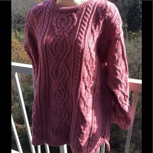 NWT Aran Crafts 100% Merino Wool Pink Cable Swter