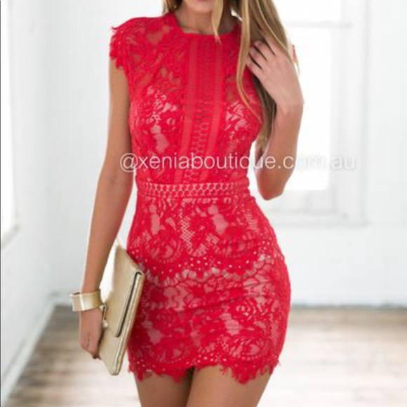 71effb09634 Xenia Boutique Red Lace mini dress. M 5a07a49e36d594c7720eee42