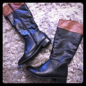 Bamboo 2 tone brown/Black boots