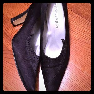 "Apostrophe ""Ginger"" Black Sequin Heels Like New"