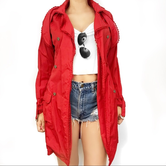 ab78262479d Escada red lace trim ruffle trench coat