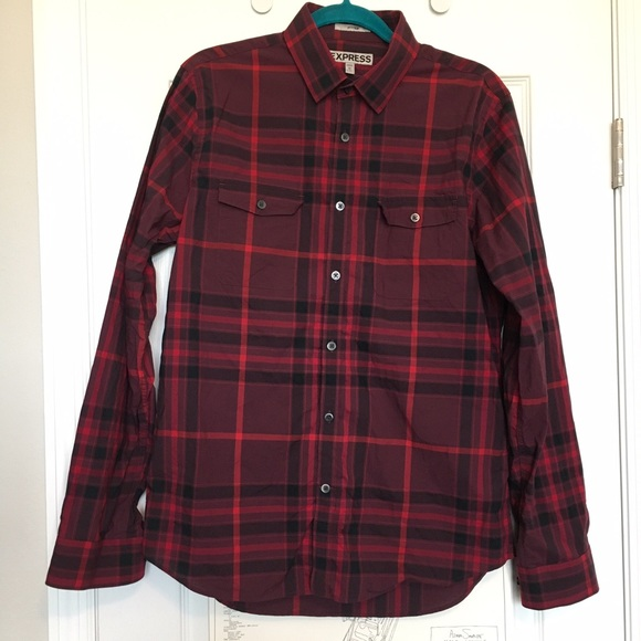 Express Other - Express men's long-sleeve button-down plaid shirt