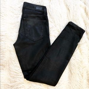 Joie Mid Rise Black Coated Skinny Jeans