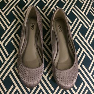 Metallic, Satin Jeweled, Ballet Flats
