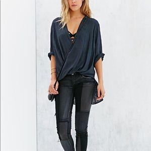 Night blue silk Urban Outfitter blouse