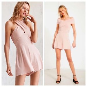 NWT UO Convertible Cross Strap Blush Pink Romper