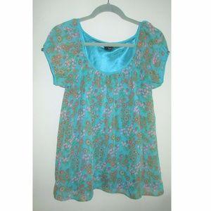 🆕 Nicole Miller Short Sleeve Floral Blouse