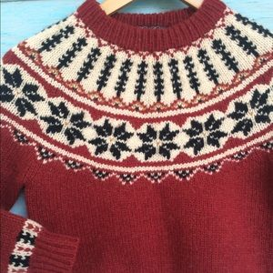 Brooks brothers handknit ski sweater kids small
