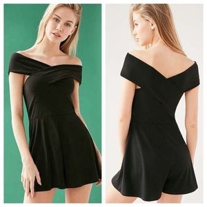 NWT UO Convertible Cross Strap OTS Romper in Black