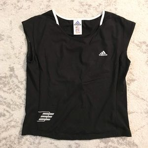 Black & white stretch Adidas athletic tank top
