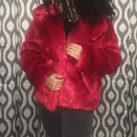 db00cb9abb5 Forever 21 Jackets   Blazers - Forever21 Red faux fur coat