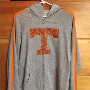 5th & Ocean hooded jacket orange glitter power T