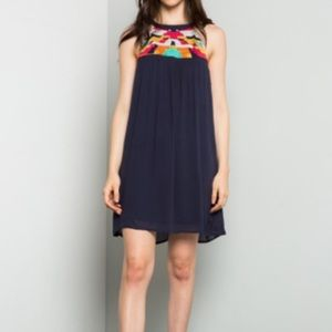 Navy Embroidered Shift Dress in Small