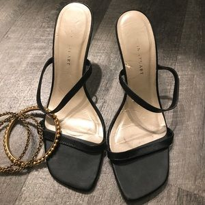 Black 2 strap Sandals with a little stretch.