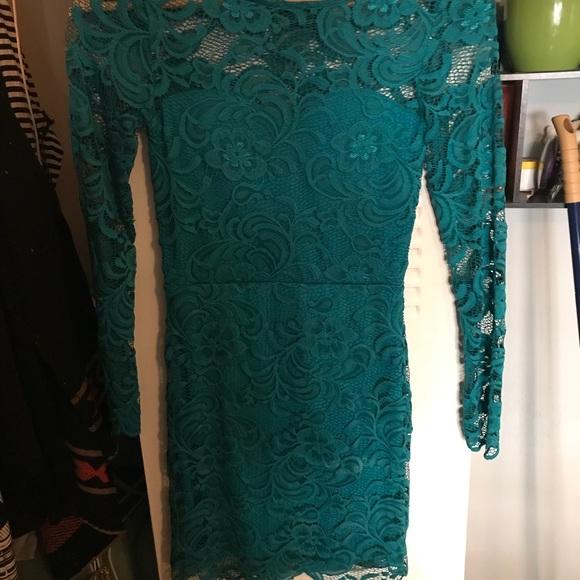 2a9160cea7a4 H&M Dresses | Green Lace Long Sleeve Back Mesh Dress | Poshmark