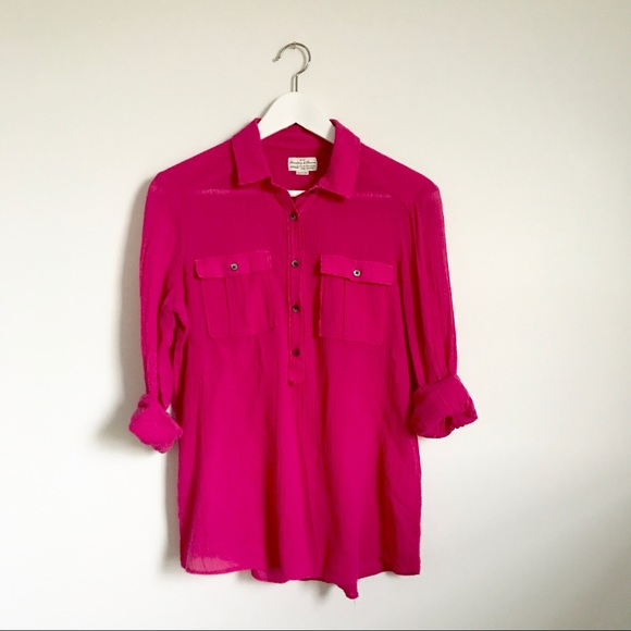 Madewell Tops - Madewell Hot Pink 100% Cotton Button Down Shirt XS