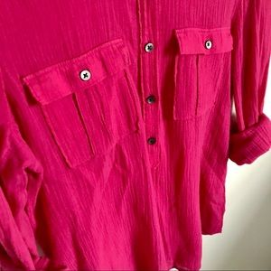 Madewell Tops - Madewell Hot Pink 100% Cotton Button Down Shirt XS