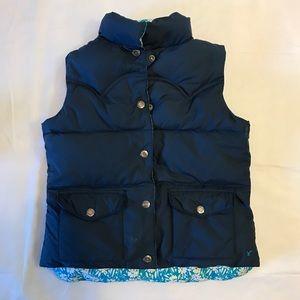 AEO Reversible Blue & Floral Puffer Vest Sz S