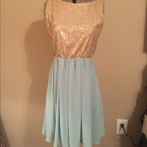 Gold and teal sequin party dress