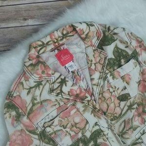 Lux Linen Blend Floral Blazer Jacket Boho