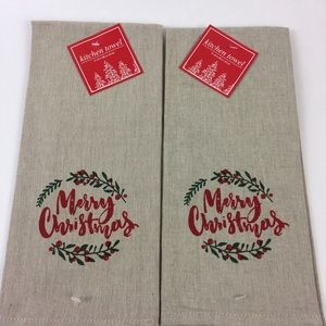 Christmas holiday Towel Set of two Tan