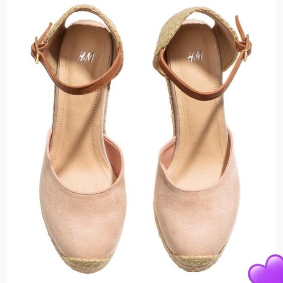 4efc47934d H&M Shoes | Hm Pink Suede Espadrille Wedge | Poshmark