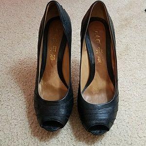 L.A.M.B Black Leather Peep Toe Pumps