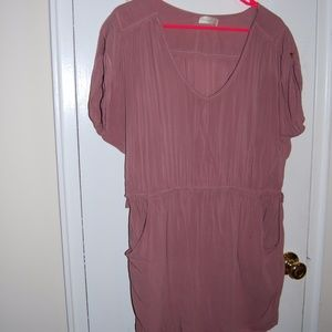 Mauve/Pink Shirt Dress with Pockets