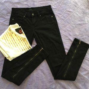 BCBGMaxAzria Black Jeans with zipper detail