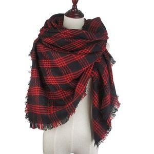 Blanket Scarf Fringe Wrap Black Red Plaid Shawl