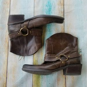 Franco Sarto Brown Leather Moto Ankle Boots 7
