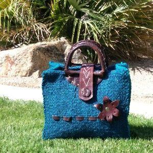 🔵Handmade burlap purse