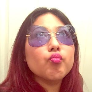 Bel Air Butterfly Rimless Frame Sunglasses + UV