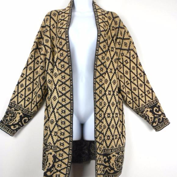 Vintage GOLD Lurex Sweater Black Baroque Design XL 3753eb400