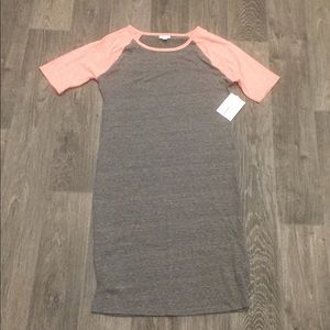 NWT Lularoe Julia grey with pink sleeves Sz large