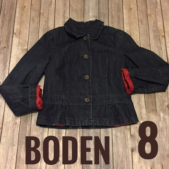 Boden Jackets Coats Cropped Denim Jacket With Peplum Detail