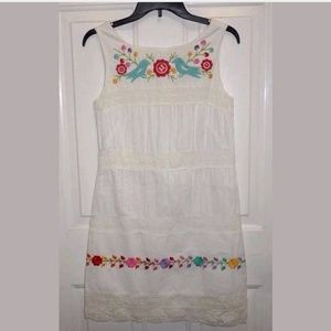 Anthropologie Anna Sui Embroidered Dress Size 4