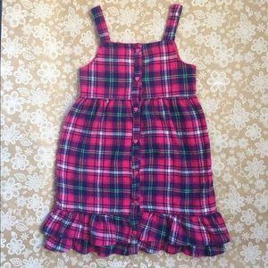Youngland Pink tartan flannel dress girls size 6