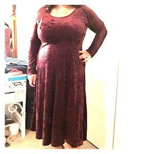 Burgundy crushed velvet dress