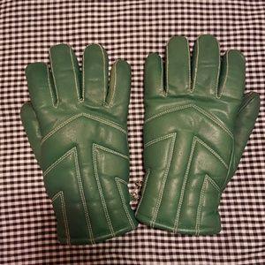 Vintage Green Leather Gloves