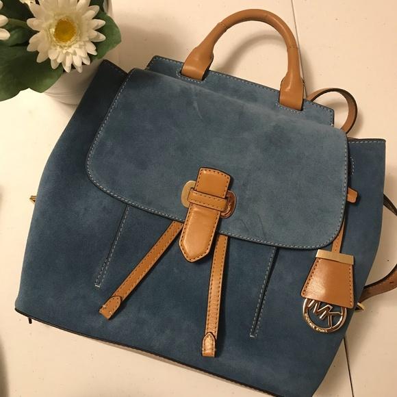 06ddac234697 ... sale michael kors romy backpack denim blue suede 94a63 e7a63