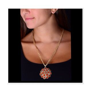 Coral Austrian Crystal Cleopatra Pendant Necklace